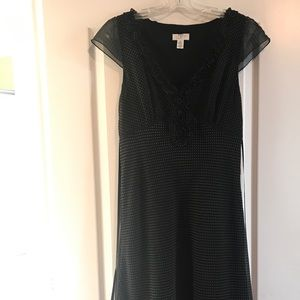 Ann Taylor loft black polka dot midi dress size 8